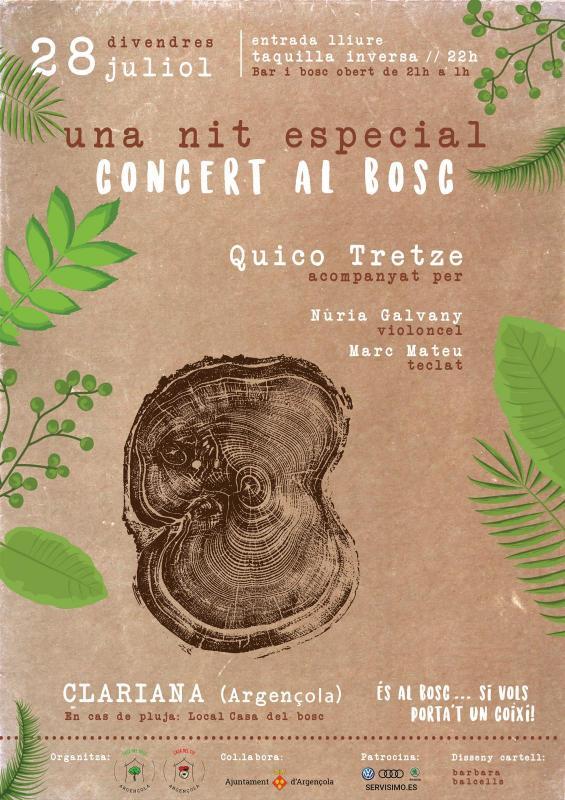cartell Concert al bosc amb Quico Tretze