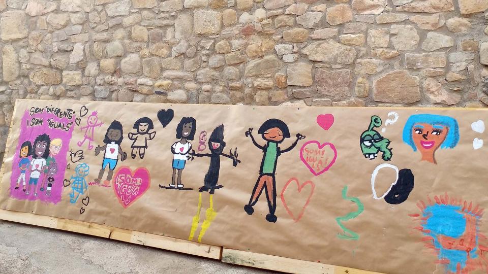 Pintada de mural amb Martí garrancho