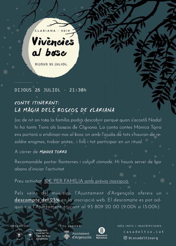 cartell Vivències al bosc 2019 - Clariana