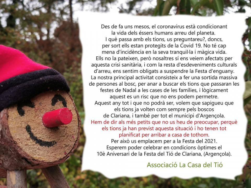 Suspesa la Festa del Tió 2020 - Clariana